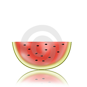 Piece Of Fresh Watermelon With Reflection Stock Photo - Image: 14994970