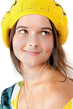 Portrait Of A Girl Wearing Yellow Beret. Stock Photo - Image: 14998630