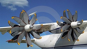 Propellers of AN-70 airplane #2 Stock Images