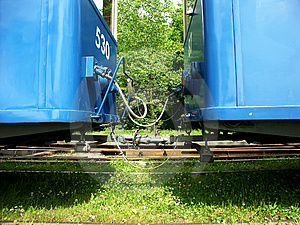 Blue Tram Cars Free Stock Images