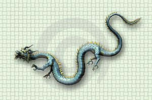 Oriental Dragon On Weave Background Free Stock Image