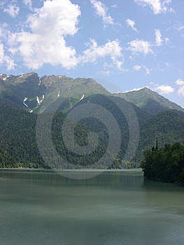 Mountain lake Ritsa, Abkhazia Stock Photos