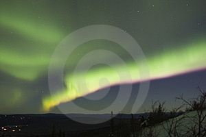 Colorful aurora band in the night sky Stock Photography