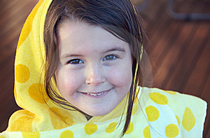 Girl With Hooded Towel Stock Images - Image: 15001634