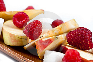 Raspberry And Apple Closeup Stock Photos - Image: 15003903