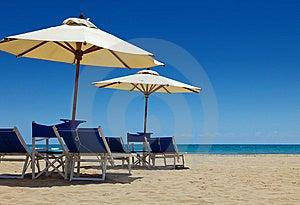 Deck Chairs Under An Umbrella Stock Photos - Image: 15004003