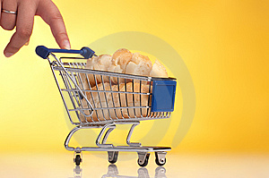 Metal Shopping Trolley Filled With Bread Stock Photography - Image: 15005442