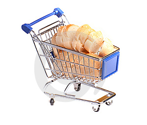 Metal Shopping Trolley Filled With Bread Royalty Free Stock Photography - Image: 15005487
