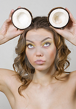 Beautiful Girl With Coconut Royalty Free Stock Photos - Image: 15007488