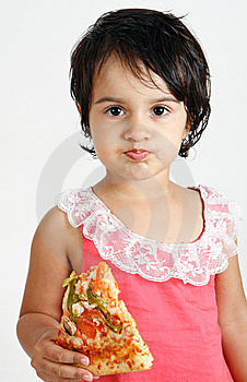 Cute And Pretty Toddler Eating Pizza Slice Stock Images - Image: 15010654