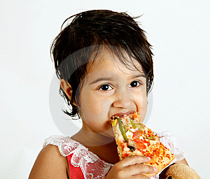 Cute And Pretty Toddler Eating Pizza Slice Royalty Free Stock Photos - Image: 15010658