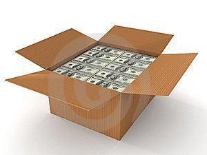 100 Dollar Bills In Cardboard Stock Image - Image: 15016151