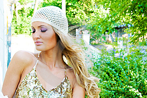Pretty Serene Fashionable Woman In The Park Stock Photo - Image: 15019320
