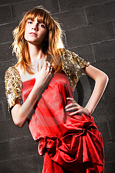 Fashionable Red-haired Woman In A Satin Red Dress Royalty Free Stock Image - Image: 15019356