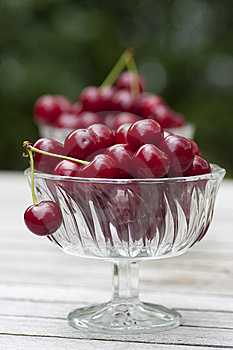 Cherries In A Glass Bowl Royalty Free Stock Image - Image: 15022276