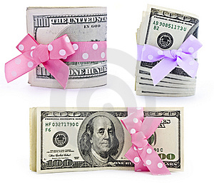 Dollar Bills With A Bow Stock Image - Image: 15028281