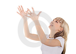 Blond Throw Something From Her Hands Stock Images - Image: 15029484