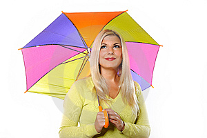 Pretty Autumn Woman Standing Under Umbrella Royalty Free Stock Images - Image: 15031589