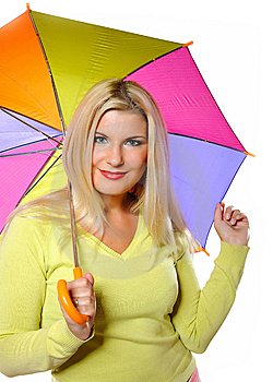 Pretty Autumn Woman Standing Under Umbrella Royalty Free Stock Photography - Image: 15031657