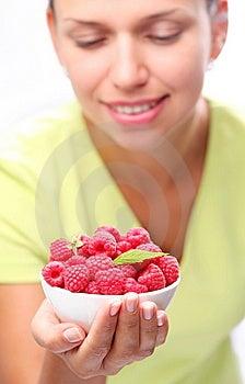 Crockery With Raspberries In Woman Hand. Stock Photo - Image: 15033930