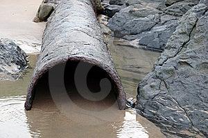 Rusty Overflow Seashore Pipe Stock Photos - Image: 15034853