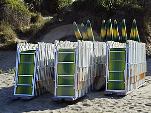 Deck Chairs On A Beach Royalty Free Stock Photo - Image: 15036925