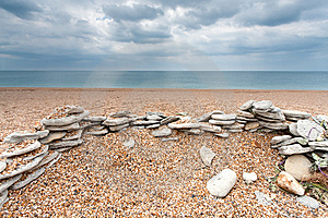Stones On An Empty Beach Stock Photo - Image: 15038060