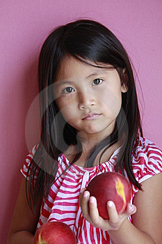 Suprised Girl With Peaches Stock Photo - Image: 15038370