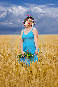 Woman In Wreath Of Flowers Stock Photo - Image: 15039190