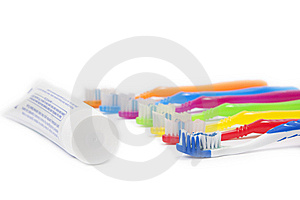 Tooth Brushes And Tooth Paste Royalty Free Stock Images - Image: 15039359