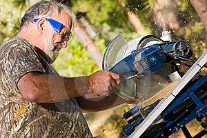 Senior Man Using A Circular Saw Stock Photos - Image: 15041033