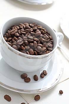 Coffee Beans And Cup Stock Photo - Image: 15042450