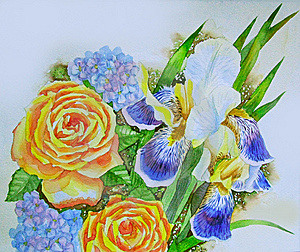 Irises And Roses Stock Photography - Image: 15050112