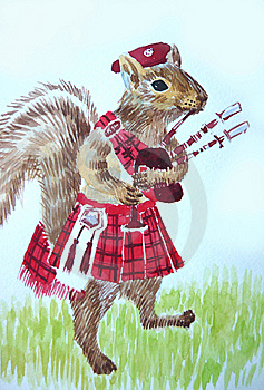 Squirrel Bagpiper Stock Images - Image: 15050214