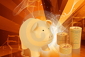 Piggy Bank And Gold Coins Stock Photos - Image: 15057233