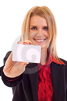 Woman With Business Card Royalty Free Stock Images - Image: 15057269