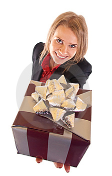 Woman With Gift Box Royalty Free Stock Photo - Image: 15057295