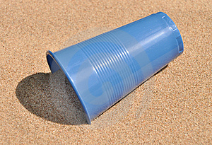 Plastic Glass On Sand. Stock Photo - Image: 15059080