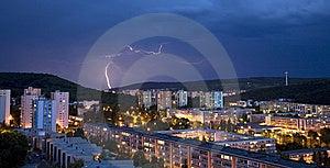 Storm Over Evening Bratislava Habitation Royalty Free Stock Photo - Image: 15060615
