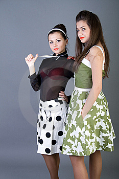 Two  Happy Retro-styled Girls Stock Photography - Image: 15063482