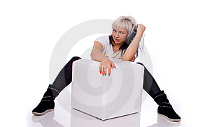 Teens - Girl Sitting Behind The Ottoman Royalty Free Stock Photography - Image: 15064987