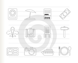 Travel, Trip And Holiday Icons Stock Image - Image: 15068411