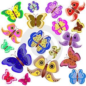 Set Of Motley Butterflies Stock Photos - Image: 15069953
