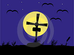 Night Cemetery Against The Dark Blue Sky Royalty Free Stock Photo - Image: 15073875