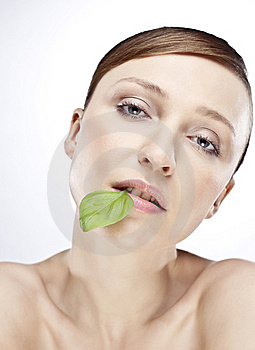 WOMAN WITH BASIL Stock Photo - Image: 15074180