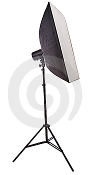 Studio Flash And Soft Box Isolated On White Royalty Free Stock Photo - Image: 15074515