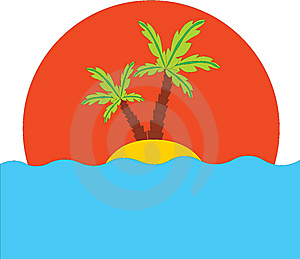 Tropical Palm On Island In Ocean Royalty Free Stock Images - Image: 15075519