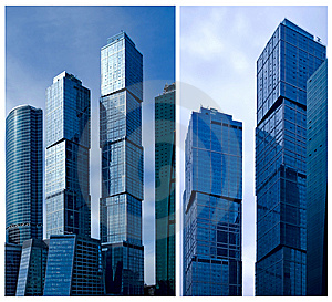 Moscow City Business Center. Collage. Stock Image - Image: 15077701