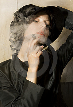 Girl Smoking Cigarre Royalty Free Stock Images - Image: 15080129