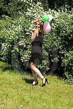 Joyful Girl With Balloons Stock Photo - Image: 15085520
